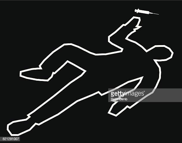 stockillustraties, clipart, cartoons en iconen met body outline drug overdose - dead body