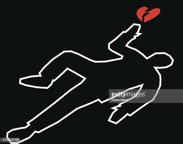 stockillustraties, clipart, cartoons en iconen met body outline with broken heart - dead body