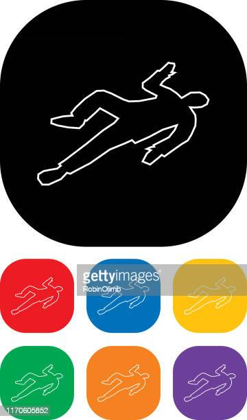 stockillustraties, clipart, cartoons en iconen met body outlineicon-set - dead body