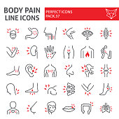 Body pain line icon set, organs ache symbols collection, vector sketches, logo illustrations, sickness signs linear pictograms package isolated on white background.
