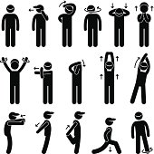 Body Stretching Exercise Stick Figure Pictogram Icon