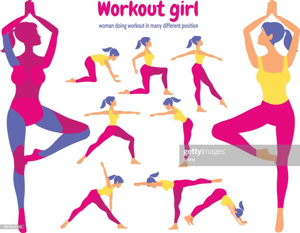 Body workout set. Pack of body parts. Woman doing fitness and yo