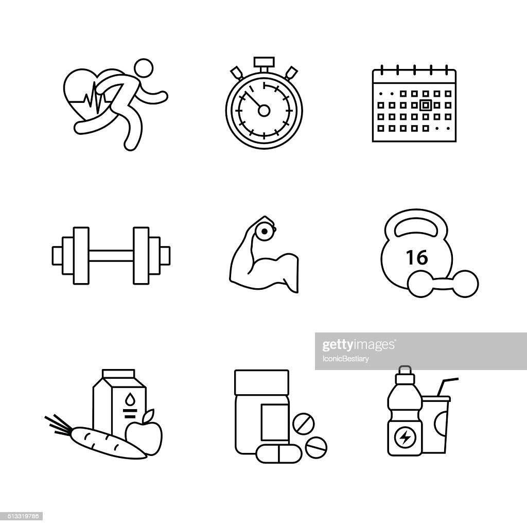 Bodybuilder, fitness thin line art icons set