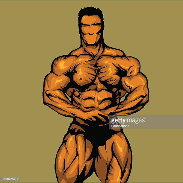 bodybuilder - most muscular pose - abdominal muscle stock illustrations, clip art, cartoons, & icons