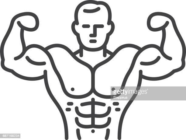 bodybuilder - abdominal muscle stock illustrations, clip art, cartoons, & icons
