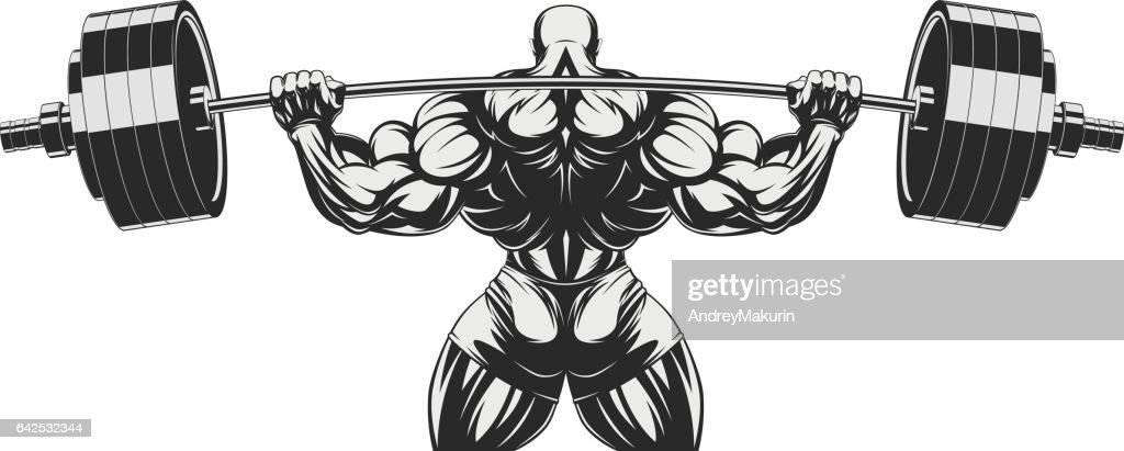 Bodybuilder with big biceps