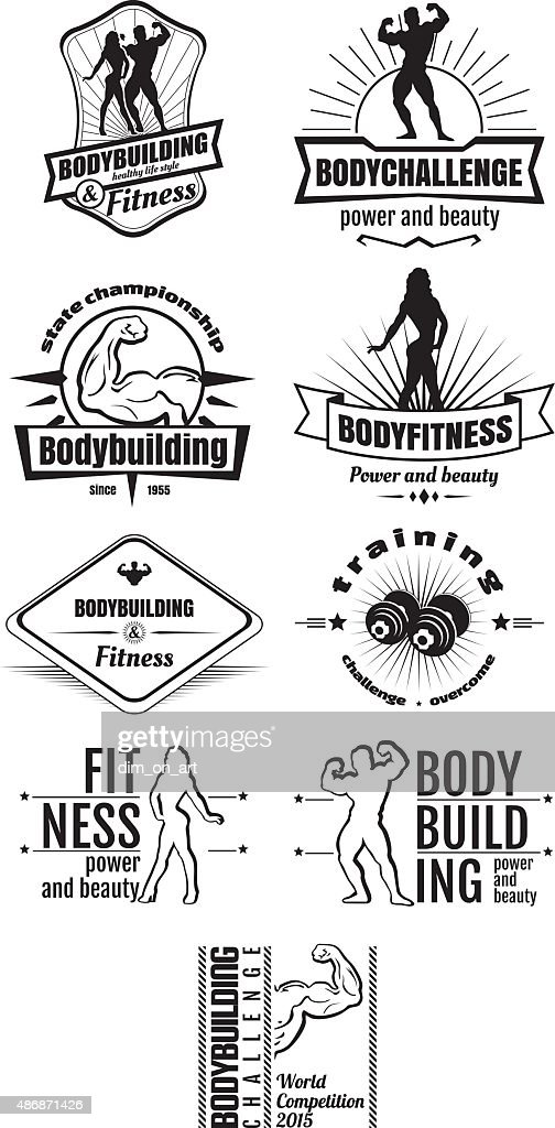 Bodybuilding and fitness emblems
