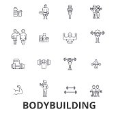 Bodybuilding, body, muscle, gym, muscleman, bodybuilder, weightlifting, muscular line icons. Editable strokes. Flat design vector illustration symbol concept. Linear signs isolated
