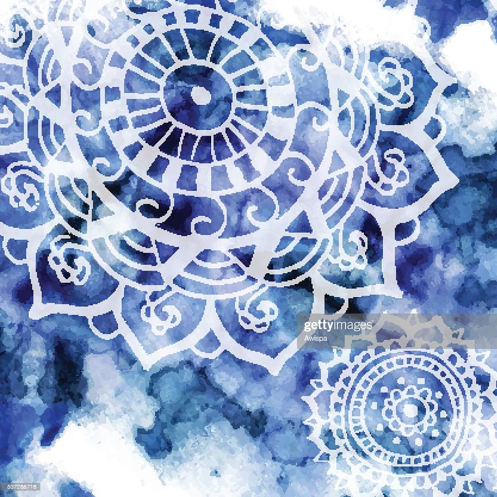 Bohemian style background with hand drawn mandala pattern