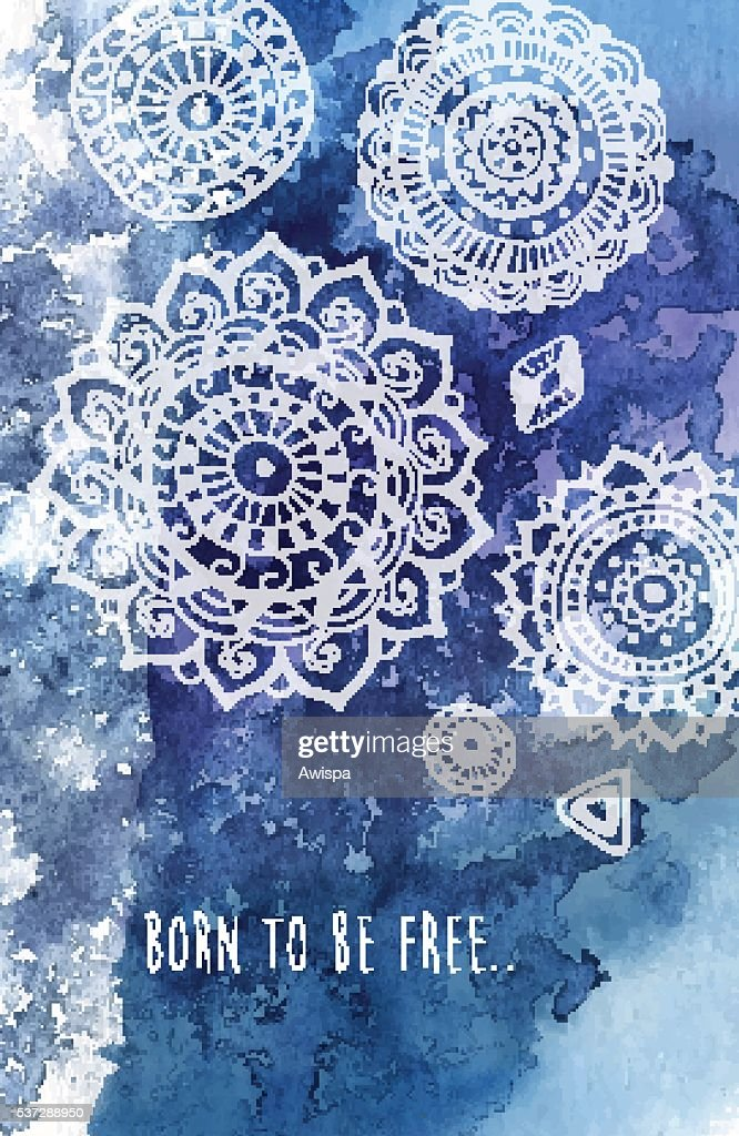 Bohemian style background with hand drawn mandala pattern