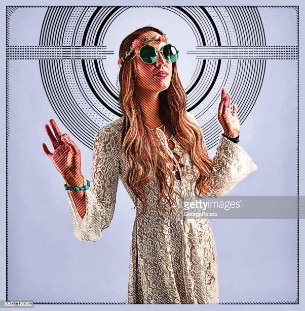 Boho Hippie Woman spiritual leader with halftone pattern background