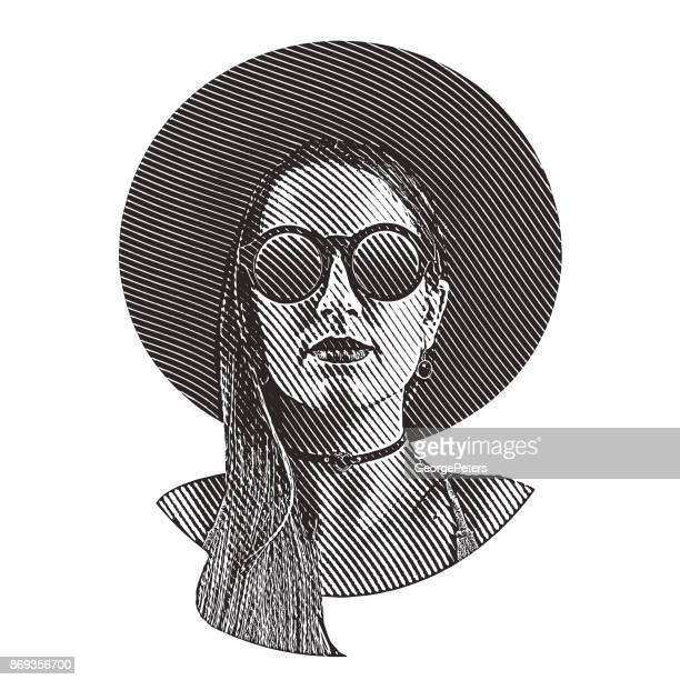 ilustrações de stock, clip art, desenhos animados e ícones de boho hipster woman - mulher fatal
