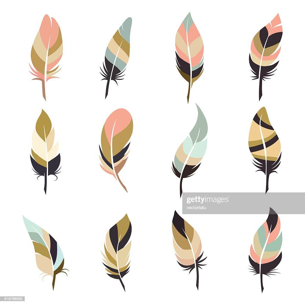 Boho style feather set