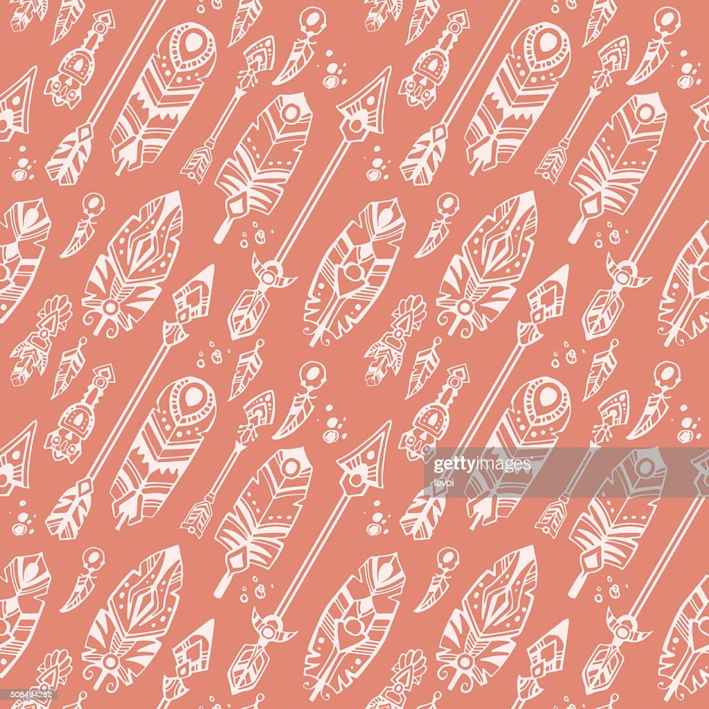 Boho style seamless pattern with tribal arrows and decorative feathers