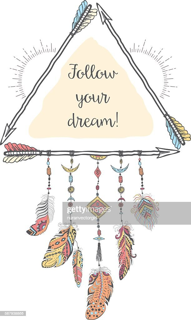 boho style with ethnic arrows and feathers vector art getty images