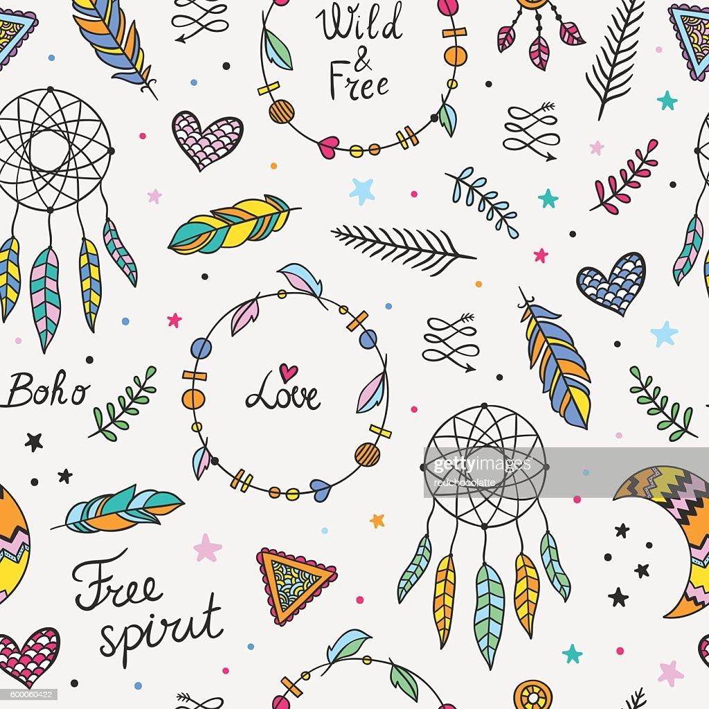 Boho tribal pattern. Seamless boho style background
