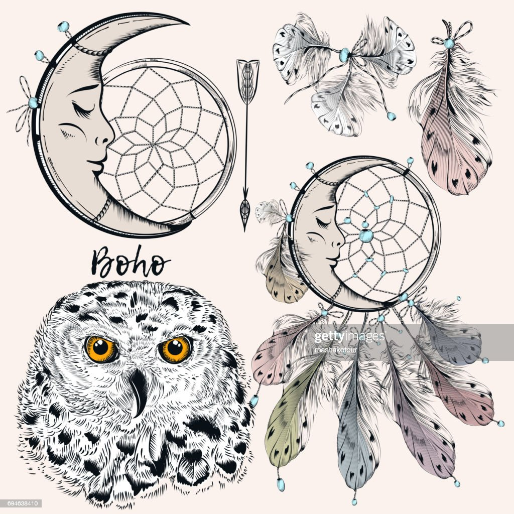 Boho vector set from dreamcatcher, feathers, owl and arrow