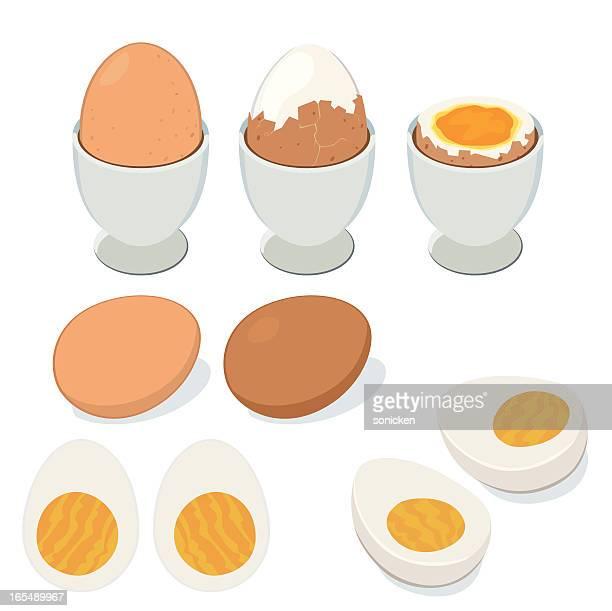ilustraciones, imágenes clip art, dibujos animados e iconos de stock de huevo hervido - huevo comida básica