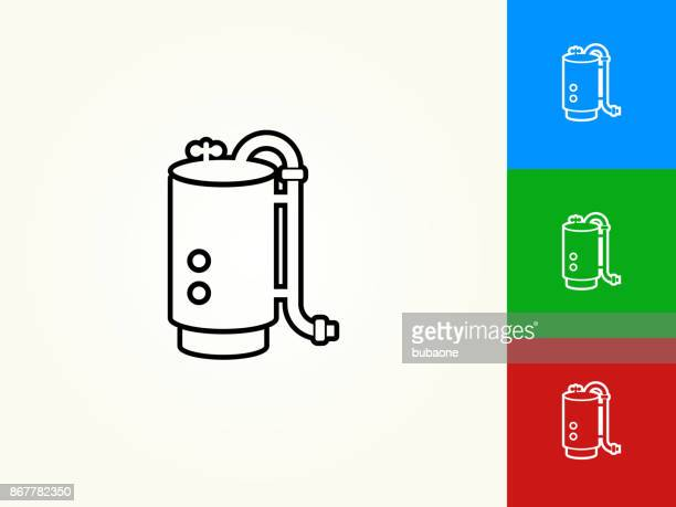 boiler black stroke linear icon - boiler stock illustrations, clip art, cartoons, & icons