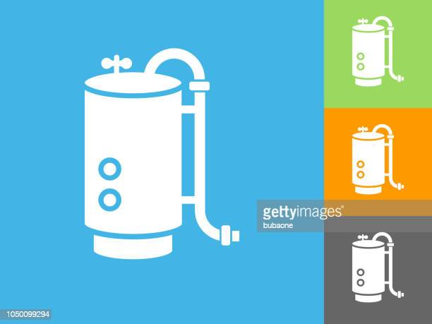 boiler  flat icon on blue background - boiler stock illustrations, clip art, cartoons, & icons