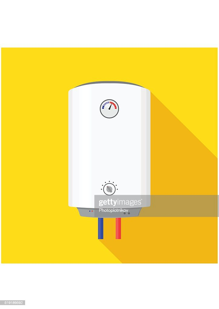 Boiler Icon flat style isolated on yellow background wish shadow.