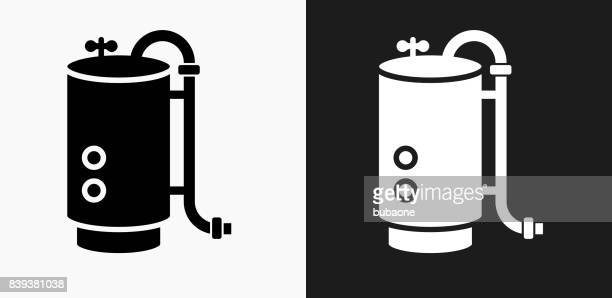 boiler icon on black and white vector backgrounds - boiler stock illustrations, clip art, cartoons, & icons