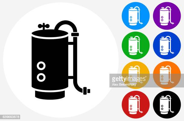 boiler icon on flat color circle buttons - boiler stock illustrations, clip art, cartoons, & icons