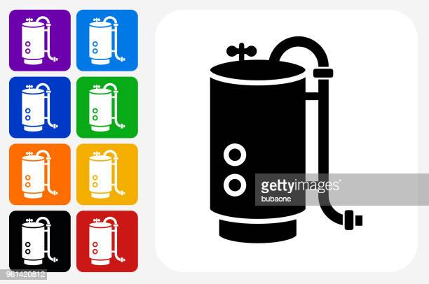 boiler icon square button set - boiler stock illustrations, clip art, cartoons, & icons
