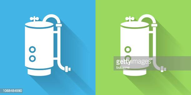 boiler icon with long shadow - boiler stock illustrations, clip art, cartoons, & icons