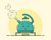 Boiling kettle character in flat design. Vector illustration.