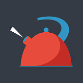 Boiling kettle flat vector.