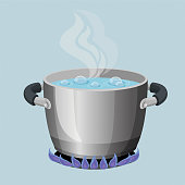 Boiling water in aluminium pot on gas flame realistic vector illustration