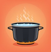 Boiling water in black pan. Cooking concept