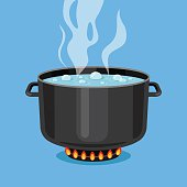 Boiling water in pan. Cooking pot on stove. Vector illustration