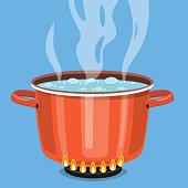 Boiling water in pan.