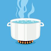 Boiling water in pan. White cooking pot on stove with hot water and steam. Flat design graphic elements. Vector illustration