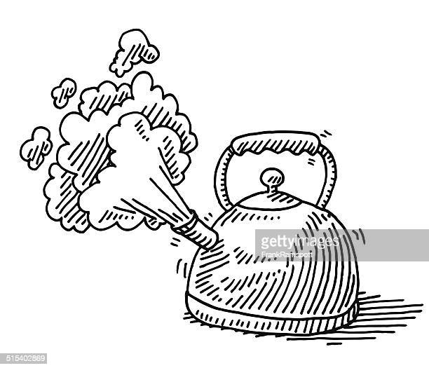 Boiling Water Steam Teapot Drawing