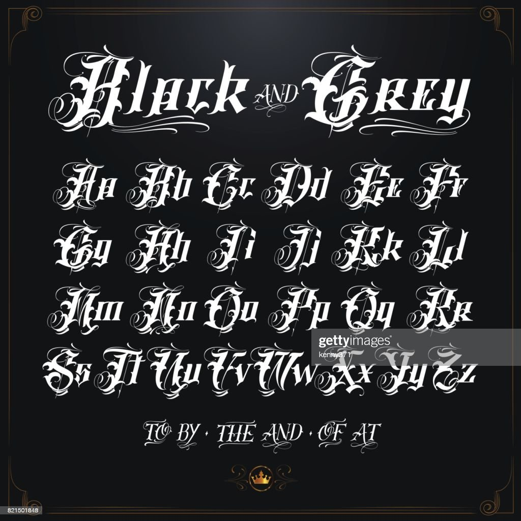 Bold black and grey tattoo font