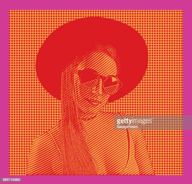 Bold Colours. Colorful portrait of young, sensual hipster woman wearing wide brim hat with half tone pattern background