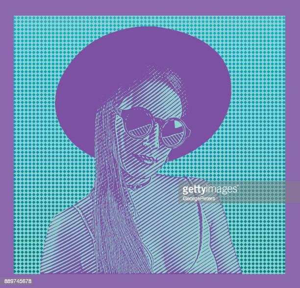 ilustrações de stock, clip art, desenhos animados e ícones de bold colours. colorful portrait of young, sensual hipster woman wearing wide brim hat with half tone pattern background - mulher fatal