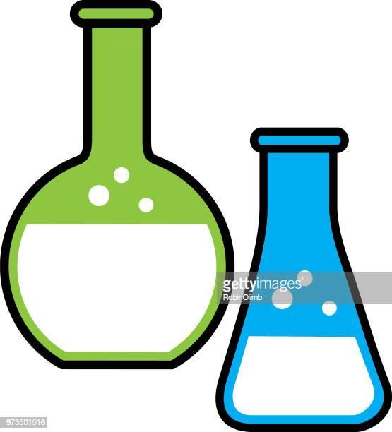 ilustraciones, imágenes clip art, dibujos animados e iconos de stock de línea vasos icono - frasco cónico