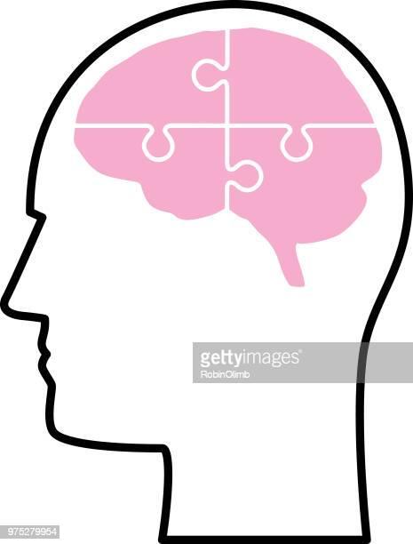 stockillustraties, clipart, cartoons en iconen met vette lijn hersenen hoofd - ziekte van alzheimer