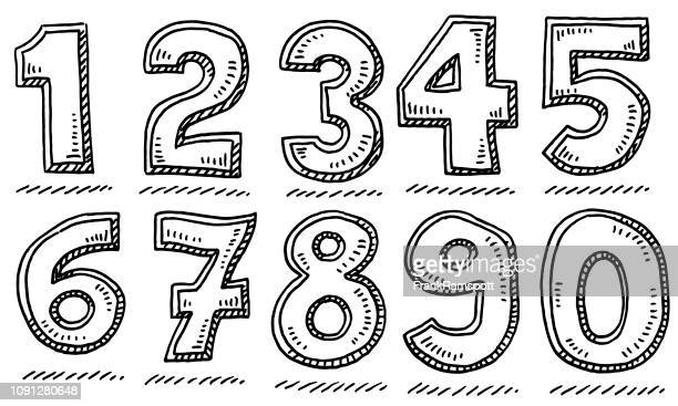 bold numbers set drawing - number stock illustrations