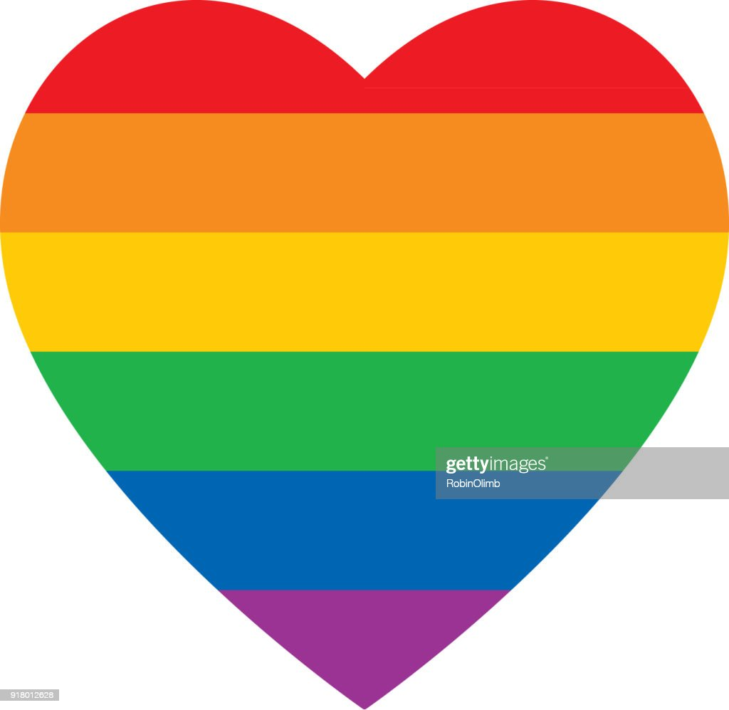 Bold Rainbow Heart Icon : stock illustration