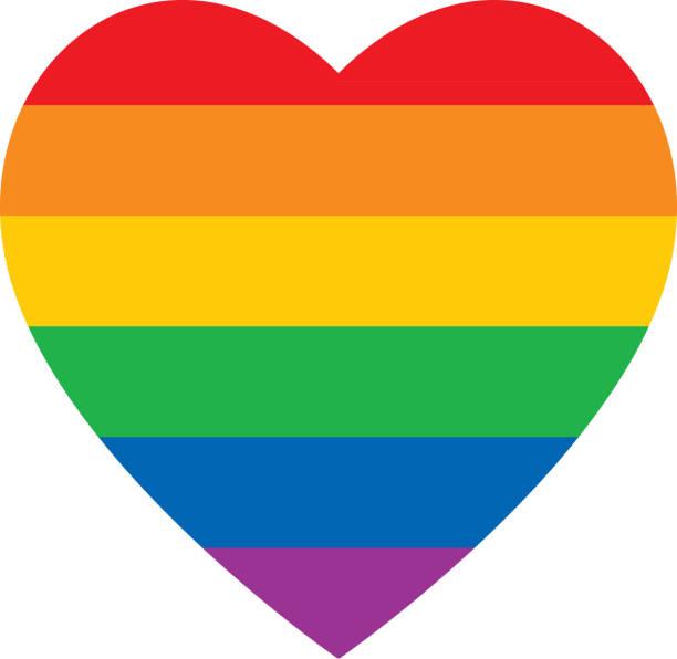 bold rainbow heart icon - rainbow stock illustrations