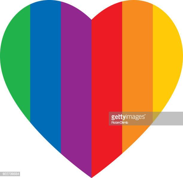 bold vertical rainbow stripes heart - marriage equality stock illustrations, clip art, cartoons, & icons