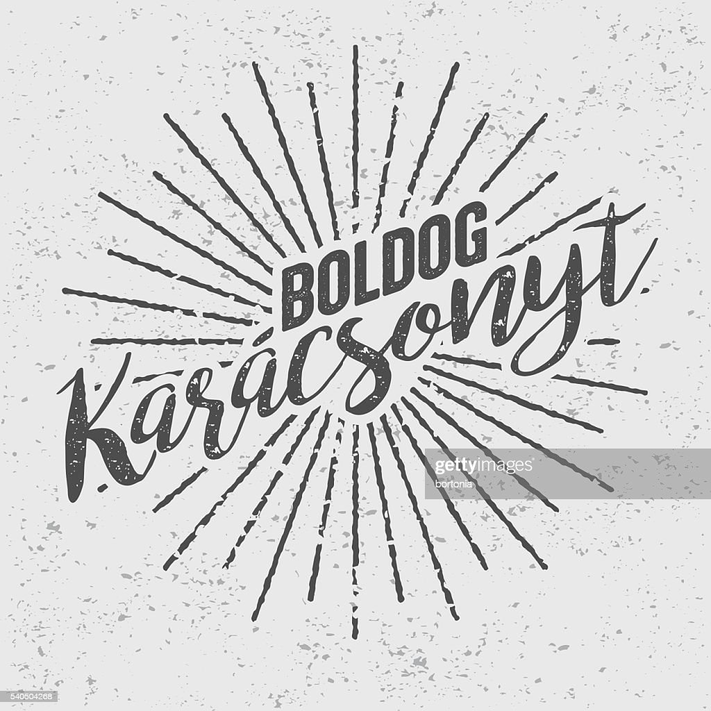 Boldog Karácsonyt Hungarian ('Merry Christmas') Vintage Screen Print : stock illustration