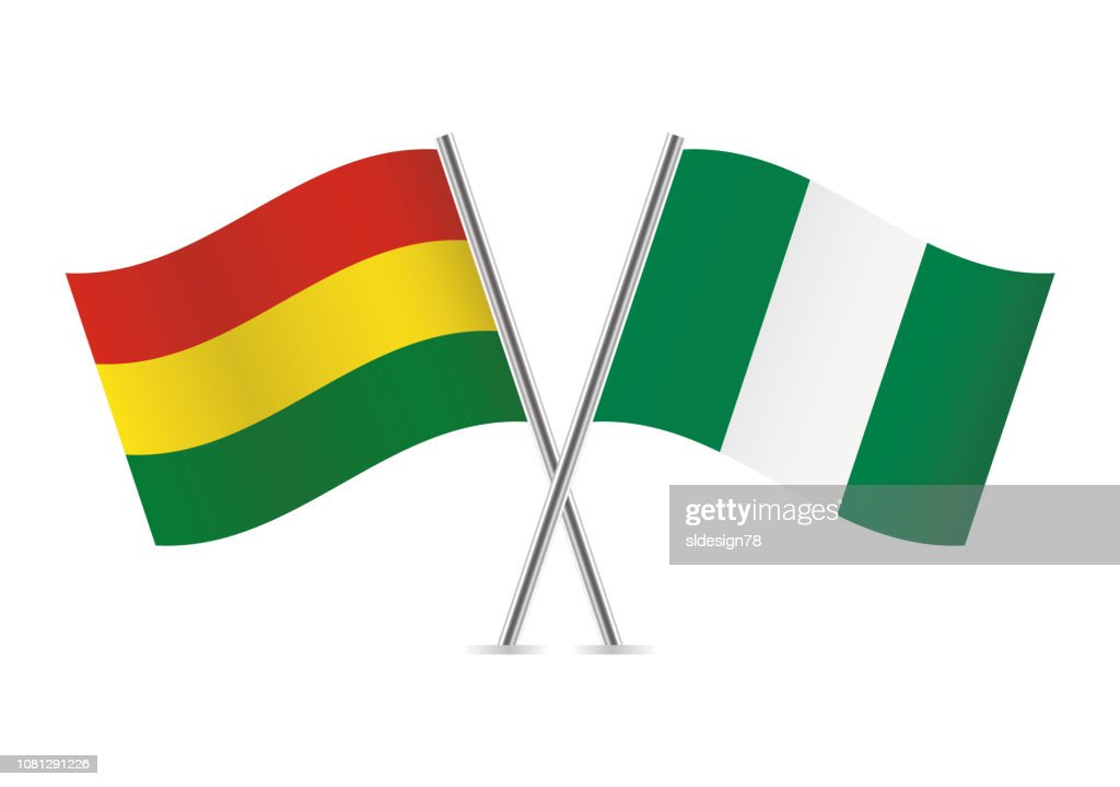 Bolivia and Nigeria flags. Vector illustration.