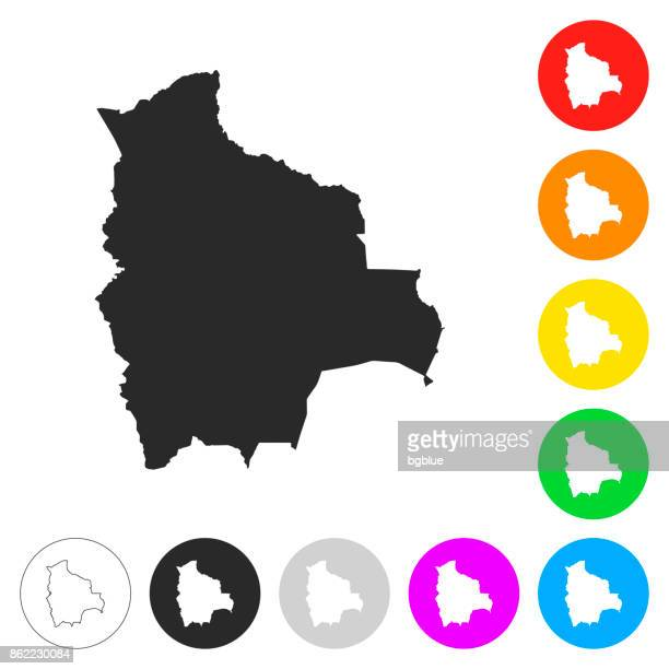 Bolivia map - Flat icons on different color buttons