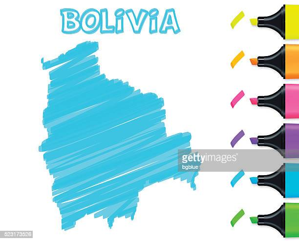 Bolivia map hand drawn on white background, blue highlighter
